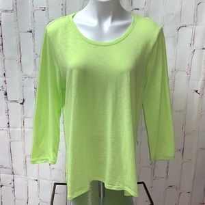 Athleta Thin Long Sleeve T-Shirt Neon Yellow EUC